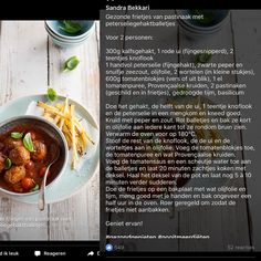 Peterseliegehaktballetjes met pastinaakfrietjes - Sandra Bekkari Y Food, Good Food, Food And Drink, Healthy Nutrition, Healthy Cooking, Chef Recipes, Cooking Recipes, Meat Love, Healthy Recepies