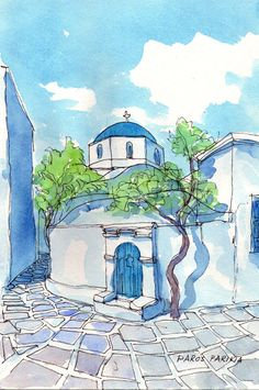 Paros Church Tree, Greece, 12 x 8print of original watercolor painting via Etsy