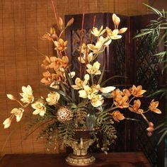 Yellow & Tan Silk Orchids Design- Elephant Vase O115-111 : Floral Home Decor, silk rose arrangements, tulip floral arrangements, magnolia silk flower arrangements, tropical arrangements, tropical silk flower arrangements, peony arrangement, sunflower arrangements