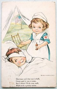 WWI Era Soldier Pretty Nurse Poem 1917 Postcard