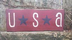 "Grungy USA Distressed Red White Blue Primitive Home Decor Wood Sign 4-3/4""x12"" #UniquePrimtiques #RusticPrimitive"