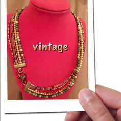 """25% OFF BUNDLES! 5 STRAND BEADED BOHO NECKLACE Circa '70, I wore this in high school! 18"""" of beads, 20"""" including length of decorative heart shaped lobster clasp. Really unique and funky! Any questions please ask! Vintage Jewelry Necklaces"""
