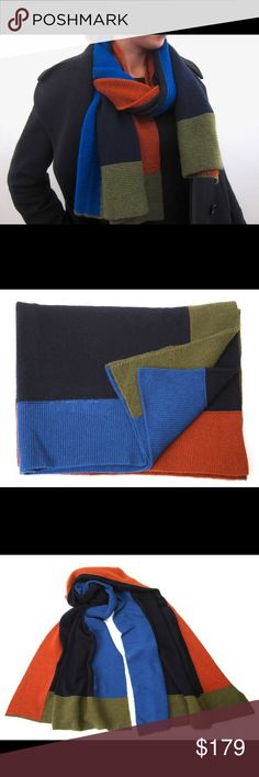 "Inverni cashmere knit colorbloc scarf- dk blue This is a NEW scarf.  100% knitted Italian cashmere. Dimensions 23x66"". COLOR: dark blue center; orange spice, azure, olive color bloc frame. Inverni Accessories Scarves & Wraps"