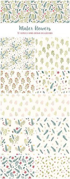 Winter Flowers Christmas Patterns