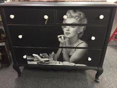 Forever Young -- Sally Azzato Makes an Old Dresser New Again using #DixieBelle Midnight Sky. #paintedfurniture #marilynmonroe