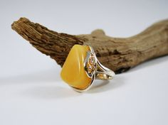 Natural Egg-Yolk Baltic Amber Ring Amber And Sterling Silver Ring Yellow Color Adjustable Amber Ring