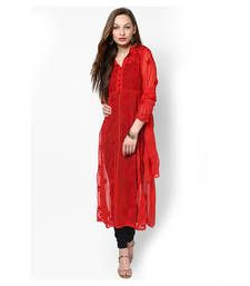 Buy Red faux georgette embroidered kurti long-kurti online