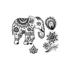 Indian elephant temporary tattoo set por stayathomegypsyshop, $8,50