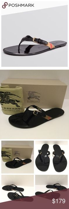 BURBERRY THONG FLIP FLOP-MAISE CHECK SANDAS. signature check and pop of color pair playfulness and luxury beautifully. Thong; slip on; buckled strap and signature check pattern accent EU Size 40 Box & Dust bag.  Leather and fabric upper, leather lining, rubber sole Made in Spain.                 Smoke / Pet Free Environment . Burberry Shoes Sandals
