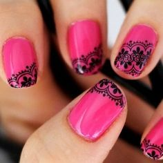 There's something so feminine and also edgy about lace that makes it attractive to both men and women! Why not add some lace with nail glue? Or after applying your base color place some lace over part of your nail and go over it with another nailpolish? You will have beautiful and stylish nails and have your friends thinking you went to the salon when really you managed to do it all by yourself!