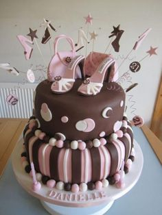 Tier Women S Twenty First Birthday Cake In Chocolate And Pink With