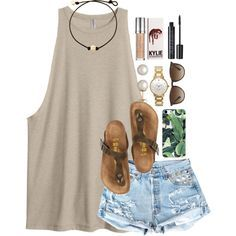 featuring Birkenstock, Kate Spade, Honora, Ray-Ban and Urban Decay Casual tank and shorts Chic Summer Outfits, Casual Outfits, Cute Outfits, Fashion Outfits, Fashion Trends, Fashion Ideas, Outfit Summer, Summer Clothes, Summer Outfits For Teen Girls Casual