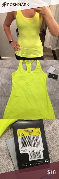 Nike dry fit tank Neon yellow Nike dry fit hypercool tank, size small, NWT. This is a thinner soft dry fit. Nike Tops Tank Tops
