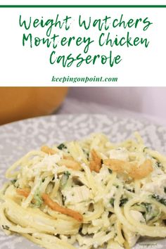 Weight Watchers Monterey Chicken Casserole - the whole family loves this recipe! Weight Watcher Snacks, Weight Watchers Meal Plans, Weight Watchers Diet, Weight Watchers Smart Points, Weigh Watchers, Ww Recipes, Cooking Recipes, Healthy Recipes, Detox Recipes
