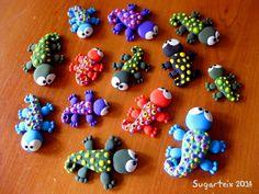 Conjunto de lagartijas de colores decorativas. También como broche o imán.  Si te gustan puedes adquirirlas en nuestra tienda on-line: http://www.sugarshop.eu