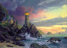 """Rock Of Salvation by Thomas Kinkade      I was struck, recently, by the gospel music phrase """"the rock of salvation"""" and suddenly felt myself challenged to present the phrase in one of my prints. Rock of Salvation will be the last creation in my Seaside Memories series. Though watching the """"sun set"""" over this seven-year series of works is nostalgic and slightly bittersweet, I look forward to the """"sun rise"""" of a new coastal series in the near future.       — Thomas Kinkade"""