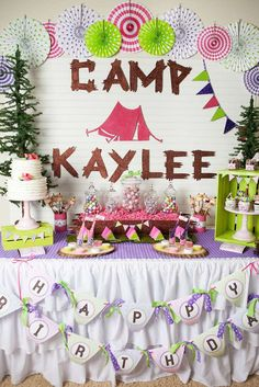 Amazing dessert table at a glamping birthday party! See more party planning ideas at CatchMyParty.com!