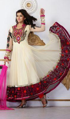 Cream Net Flared Long Anarkali Suit Price: Usa Dollar $219, British UK Pound £129, Euro161, Canada CA$237 , Indian Rs11826.