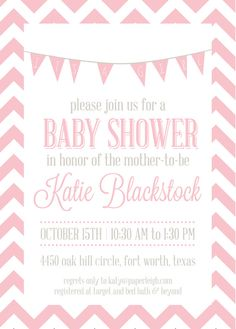 DIY - Chevron Baby Girl Shower Invite by PaperLeigh on Etsy