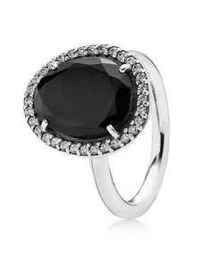 Pandora Ring - Sterling Silver, Spinel & Cubic Zirconia Glamorous Legacy | Sterling silver/spinel/cubic zirconia | Imported | Style #190893SPB | Almost all gemstones and black diamonds have been treat