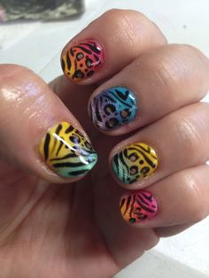 Amazing shellac nails with additives glitter and multi animal prints by Cheryl