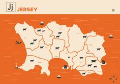 Jersey Map in orange, by Sunshine Design