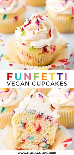 Fluffy and soft funfetti vegan cupcakes, perfect for birthdays and celebrations! #vegan #cupcakes
