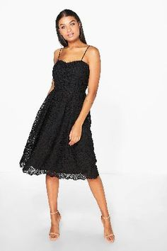 #boohoo Abie Embroidered Strappy Midi Skater Dress - #Boutique Abie Embroidered Strappy Midi Skater Dress - black