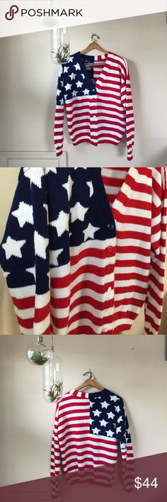 Vintage Fourth of July Cardigan Patriotic Sweater This is the perfect cozy cardigan to curl up with your love and watch the fireworks. Excellent vintage condition. Ships today if you order by 4 EST! No label, Fits small to large. Vintage Sweaters Cardigans