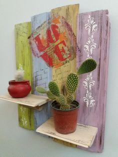 Resultado de imagen para cuadros con machimbre Ideas Para, Decoupage, Stencils, Living Spaces, Cactus, Planter Pots, Sweet Home, Shabby, Outdoor Decor