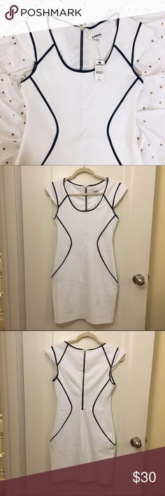 Express White Dress With Black Piping NWT. Never worn. Perfect work dress, ultra flattering! Express Dresses Midi