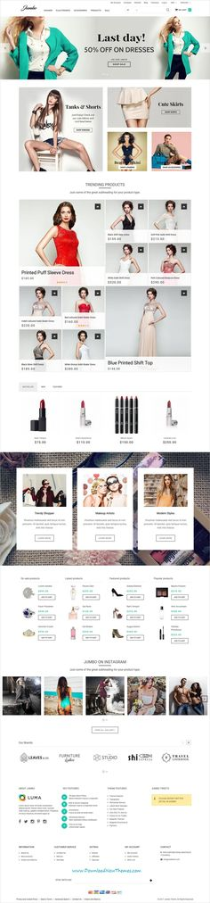 Jumbo is clean, stylish and modern design responsive #Magento theme for stunning #fashion store #eCommerce website with 18+ niche homepage layouts to live preview & download click on Visit #webshop