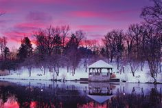 Winter sunrise at the Duck Pond, Virginia Tech.