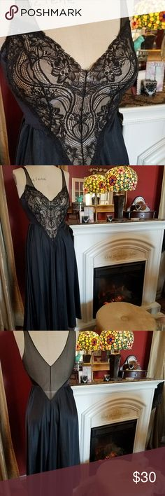Black Nylon & Lace Gown Black Lace Top with black nylon skirt lingerie. Brand is Olga. Vintage Intimates & Sleepwear
