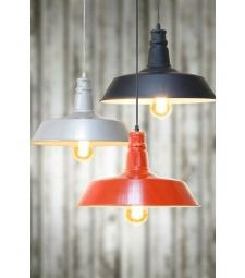 Pascal Vintage factory Industrial pendant light Red with filament bulb 5060311146632 Vintage Pendant Lighting, Industrial Pendant Lights, Pendant Lamp, Factory Lighting, Black Silver, Red Black, Silver Ring, Silver Jewelry, Ceiling Lights