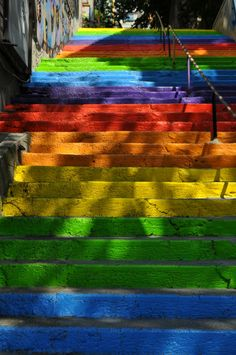 The rainbow stairs in Istanbul's Tophane area.