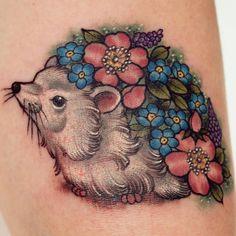 Little #Botanical #Vintage #Floral #Hedgehog #Tattoo I did at the Southampton Tattoo festival. Thanks Kari :)