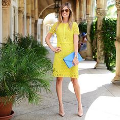 Gear up for spring in a bright eyelet dress.