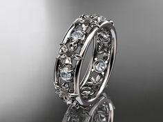 platinum diamond leaf  wedding ringengagement by anjaysdesigns, $1475.00