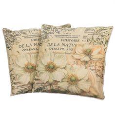"18"" Floral Script Pattern Throw Pillows (Set of 2)"