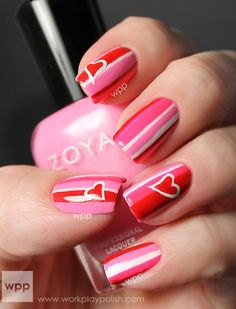 Pink and Red Valentine's Day Nail Art