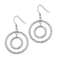 Sterling Silver DC-cut Double Door Knocker Drop Dangle French Wire Earrings Fancy Earrings, Silver Earrings, Dangle Earrings, Crochet Earrings, Open Ring, Dangles, Chain, Sterling Silver, Diamond