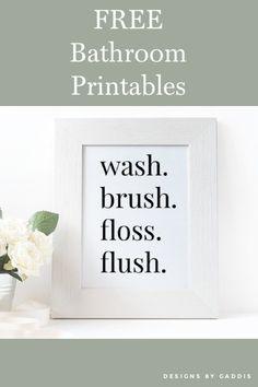Kids Bathroom Art, Bathroom Decor Signs, Bathroom Quotes, Bathroom Prints, Free Printable Art, Free Printables, Bathroom Printable, Free Art Prints, Free Downloads