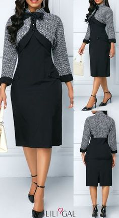 06 back slit bowknot detail sheath dress liligal dresses Classy Work Outfits, Classy Dress, African Fashion Dresses, African Dress, Mode Xl, Elegant Dresses, Casual Dresses, Dress Outfits, Fashion Outfits