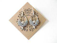 Small Hoop Earrings Gray Fiber Jewelry. Modern Minimalist Cottage Chic . Bohemian Jewelry Urban Gypsy . Dainty Jewelry Design by raïz