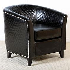 @Overstock - Modernly styled, this chair features a curved seat back and armrests for looks and comfort, carefully upholstered bonded leather with studs and a quilted pattern that adds texture and depth. Its classic black color will match your home decor.http://www.overstock.com/Home-Garden/Mia-Black-Bonded-Leather-Quilted-Club-Chair/4856683/product.html?CID=214117 $262.04