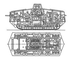 Der A7V war 3,3 m hoch und seine Geländegängigkeit war eher mäßig, war trotzdem ein schwer zu vernichtender Gegner. Die Besatzung Bestand aus 18 bis 26 Mann.  Die Temperatur stieg im Inneren auf bis zu 86 Grad Celsius an. Deshalb trug die Besatzung während des Einsatzes dicke Asbestanzüge... Das war sehr anstrengend bei Einsätzen, die bis zu 8 Stunden dauerten. In der Rumpfmitte befanden sich die zwei je 100 PS leistenden Daimler-Motoren.