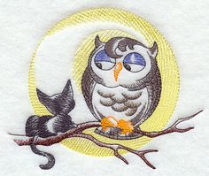 Kitten and Owl   Halloween Friends embroidered by MorningTempest, $15.00