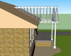 open gable patio cover design | Building a Gable end porch cover. Tying into existing roof for over deck. It's too bright for our fair skin out there and it might help dampen some of the road noise nearby.