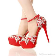 74698162dfe Red high heels for wedding with rhinestone lady nightclub formal dress shoes  with ankle straps platform
